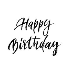 happy birthday greeting card paint brush vector image