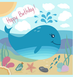 Happy birthday greeting card with cute whale and vector