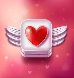 Heart Valentines day icon with sparkles vector image