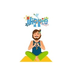 Hippie barefoot man sitting vector