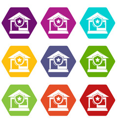 house protection icons set 9 vector image