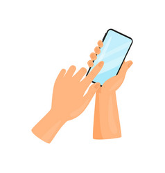 human hand holding mobile phone and touching vector image