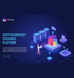 isometric cryptocurrency exchange platform landing vector image