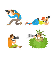 Journalists or spy reporters make reportage vector