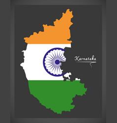 Karnataka map with indian national flag vector