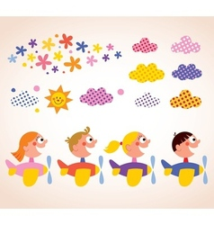 Kids in airplanes design elements set vector image