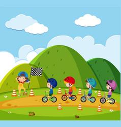 Kids racing bike in the park vector