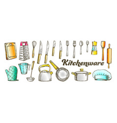 Kitchenware utensils collection color set vector