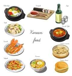 Korean cuisine set Collection of food dishes vector