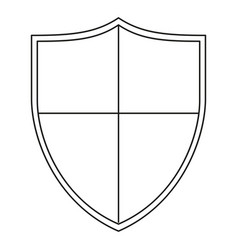 Line art black and white crossed shield vector