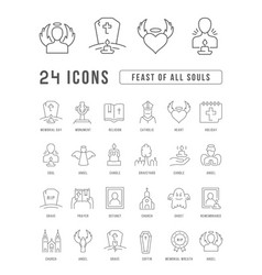 Line icons feast all souls vector