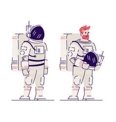 male cosmonaut with helmet flat smiling vector image