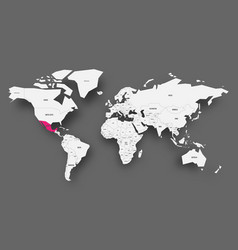mexico pink highlighted in map of world light vector image