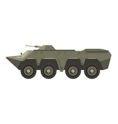 Military vehicle with four pairs wheels and vector