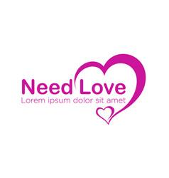 Modern love logo design for business health care vector