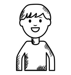 Monochrome young man avatar character vector