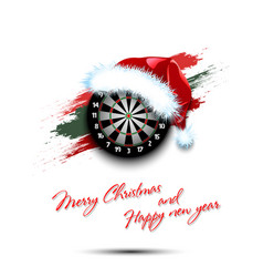 New year and dartboard in santa hat vector