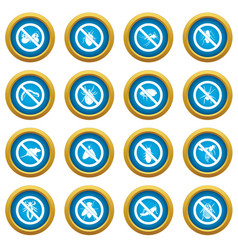 no insect sign icons blue circle set vector image