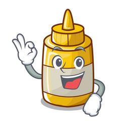 okay character bottle style mustard sauce yummy vector image