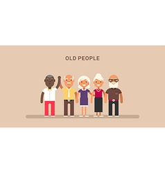 old people horizontal colored flat vector image
