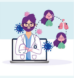 Online health doctor in laptop consult and vector
