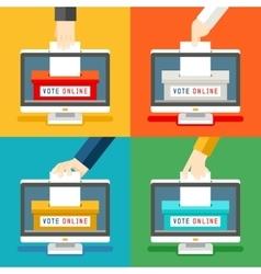 Online voting hands vector