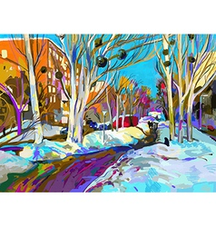 Original digital painting of winter cityscape vector