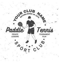 paddle tennis club badge emblem or sign vector image
