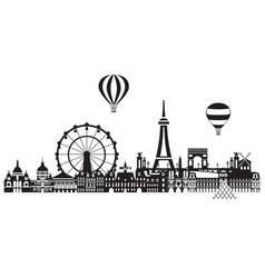 paris city skyline 3 vector image