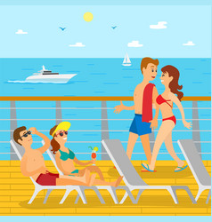 people on cruise liner couple relaxing vector image