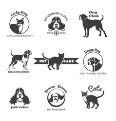 Pet club dog center veterinary clinic logos vector