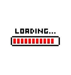 Pixel art 8bit loading red bar on white background vector