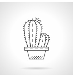 Pot cactus flat line icon vector image