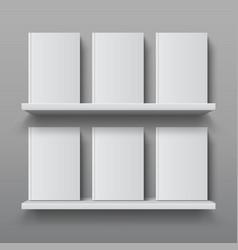 Realistic bookshelf with books library shelf vector