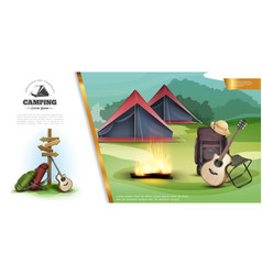 Realistic summer camping colorful template vector