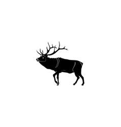 reindeer deer black on white background vector image