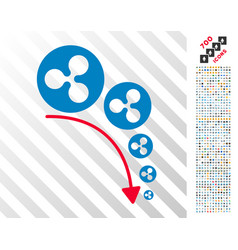 Ripple deflation trend flat icon with bonus vector