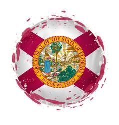 Round grunge flag florida us state vector