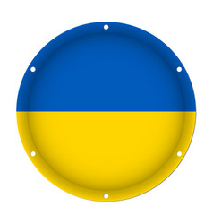 Round metallic flag of ukraine with screw holes vector