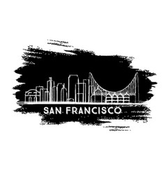 San francisco skyline silhouette hand drawn sketch vector