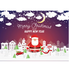 santa claus and snowman in christmas village vector image