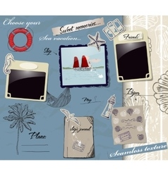 Scrapbookng poster with sea traveling elements vector image