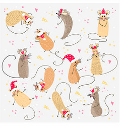 set funny rats with santa claus hats for design vector image