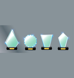 Set glass trophy award award vector
