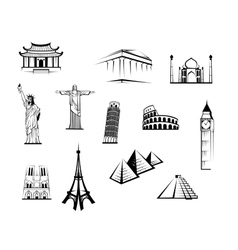 Set of black and white worldwide landmarks vector