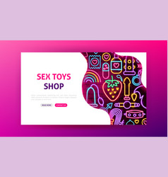Sex toys neon landing page vector