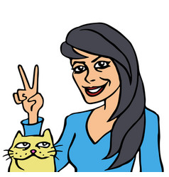 she and her cat vector image