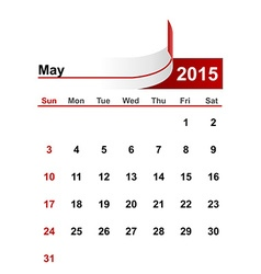 simple calendar 2015 year may month vector image