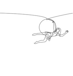Single continuous line drawing an acrobatic woman vector