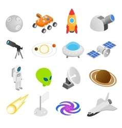 Space isometric 3d icons vector